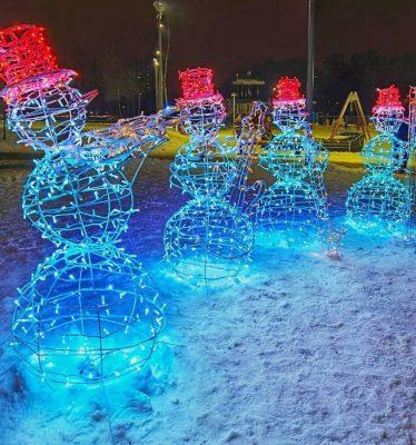 Светодиодные снеговики музыканты