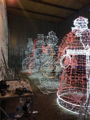 Светодиодные снеговики музыканты и Дед Мороз